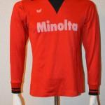 1980 - 1981 Spielertrikot UEFA Pokalsieg 1980 Norbert Nachtweih Pokalübergabe vorn